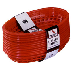Tablecraft Medium Red Plastic Oval Basket