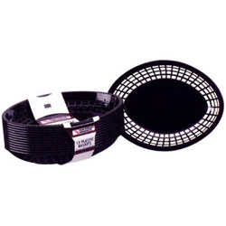 Tablecraft Medium Black Plastic Oval Basket