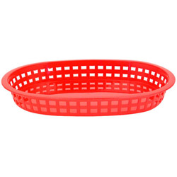 Tablecraft Large Red Plastic Oval Basket