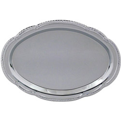 "American Metalcraft 12"" x 8"" Oval Chrome Tray"