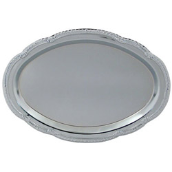 "American Metalcraft 15"" x 10"" Oval Chrome Tray"