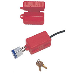 "North Safety Products 3-1/4"" x 3-1/4"" x 7"" Electrical Plug Lockout for 2"