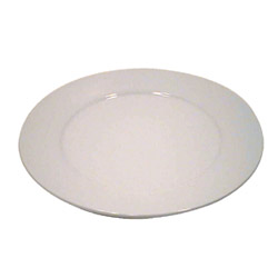 "Vertex China 12"" White Argyle Rolled Edge Porcelain Plate"
