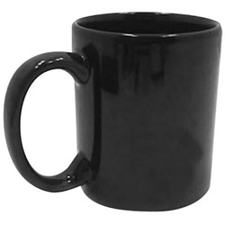Tri-S Superior Screen 11 Ounce Black C-Handle Coffee Mug