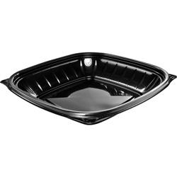 Dart PresentaBowls Pro Black Square Bowls, 24 oz, Plastic, 63/Bag, 4 Bag/Carton