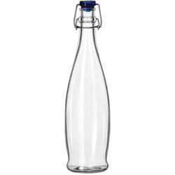 Libbey Glass Water Bottle with Wire Bail Lid, 33 OZ