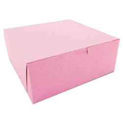 "SCT Pink Bakery Boxes, 10"" x 10"" x 4"", Case of 100"