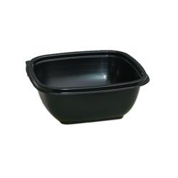 Sabert Bowl2 Plastic Square Bowl, 16 OZ, Black