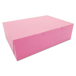 "SCT Pink Bakery Boxes, 10"" x 14"" x 4"", Case of 100"
