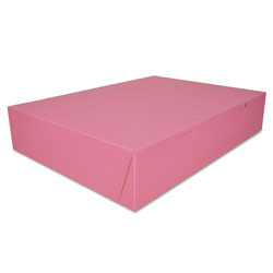 "Southern Champion Pink Bakery Boxes, 14"" x 20"" x 4"", Case of 50"