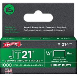 Arrow Fastener JT21 Type Staples, 1/4 in