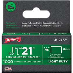 Arrow Fastener JT21 Type Staples, 5/16 in
