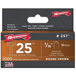 Arrow Fastener T25 Type Staples, 7/16 in