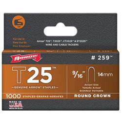 Arrow Fastener T25 Type Staples, 9/16 in