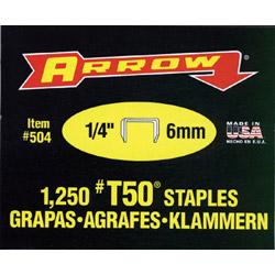 "Arrow Fastener 50014 T50 1/4"" Staple1250/pk .050 Wire"