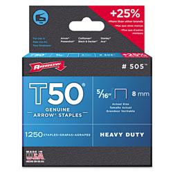 Arrow Fastener T50 Heavy Duty Staples, 0.31 in Leg, 0.38 in Crown, Steel, 1,250/Pack