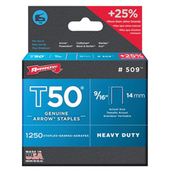 Arrow Fastener 50016 T50 9/16 in STAPLES1250/PK .050 WIRE