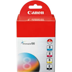 Canon Ink, Cli-8 Four Pack, Black, Cyan,