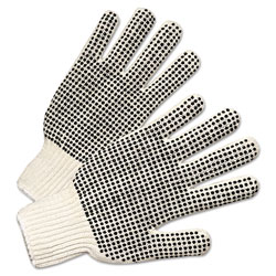 Anchor PVC-Dotted String Knit Gloves, Natural White/Black, Large, 12 Pairs