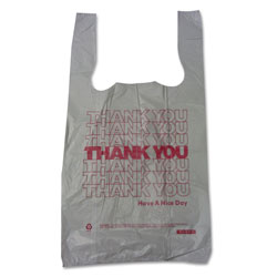 Sweet Paper Thank You High-Density Shopping Bags, 10 in x 19 in, White, 2,000/Carton