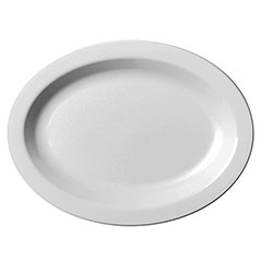 "Cambro White Narrow Rim Oval Plate, 9"" x 12"""