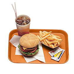 "Cambro 1014FF166 Orange Fast Food Tray, 10"" x 14"""