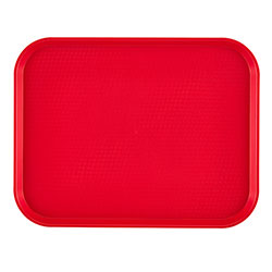 "Cambro 1418FF163 Red Fast Food Tray, 14"" x 18"""