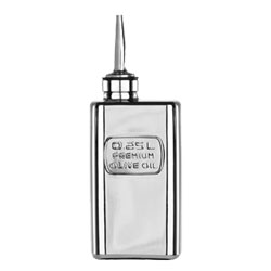 Bauscher Hepp Luigi Bormioli Precious Glass 8.5 oz Premium Olive Oil Bottle, Mirror Finish and Silicone / Stainless Steel Pourer