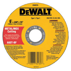"Dewalt Tools 6"" x .040"" x 7/8"" A60t Metalthin Cutoff Wheel Type1"