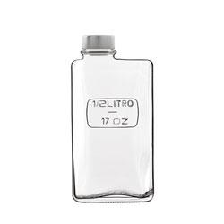 Bauscher Hepp Luigi Bormioli Optima 17 oz Rectangular Glass Bottle with Airtight Screw Top