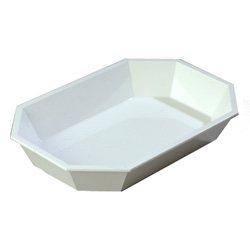 "Carlisle Foodservice Products White Octagonal 2.5 lb. Low Profile Crock, 10 1/2"" x 7"""