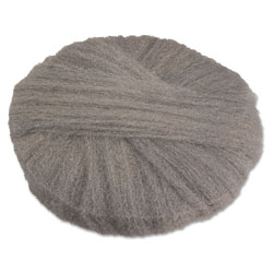 Global Material Radial Steel Wool Pads, Grade 2 (Coarse): Stripping/Scrubbing, 20 in, Gray, 12/CT