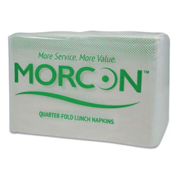 Morcon Paper Morsoft 1/4 Fold Lunch Napkins, 1 Ply, 11.5 in x 11.5 in, White, 6,000/Carton