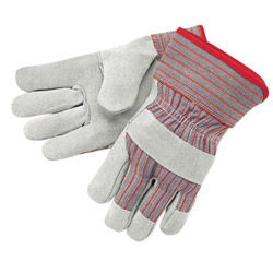 Memphis Glove Economy Grade Leather Gloves, White/Red, Large, 12 Pairs