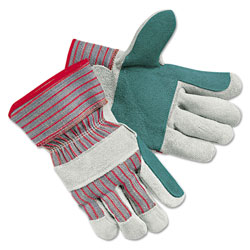 Memphis Glove Men's Economy Leather Palm Gloves, White/Red, Large, 12 Pairs
