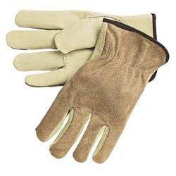 Memphis Glove Dual Leather Industrial Gloves, Cream, Large, 12 Pairs