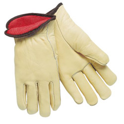 Memphis Glove Red Fleece Lined Leathergrain Glove Cream Color