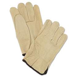 MCR Safety Unlined Pigskin Driver Gloves, Cream, Large, 12 Pairs