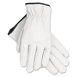 MCR Safety Grain Goatskin Driver Gloves, White, Large, 12 Pairs