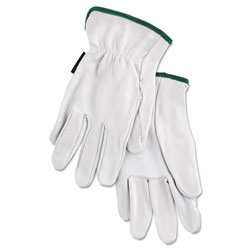 MCR Safety Grain Goatskin Driver Gloves, White, Medium, 12 Pairs
