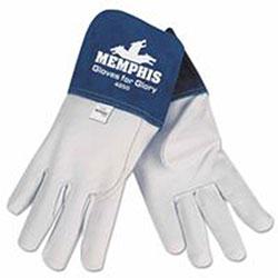 Memphis Glove Goat Mig/Tig Welders Gloves, Premium Grade Grain Goatskin, Large, White/Blue