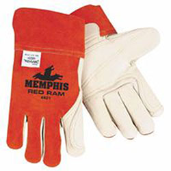 Memphis Glove Cow Mig/Tig Welders Gloves, Premium Grade Cowhide Leather, Large, White/Russet
