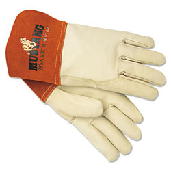 MCR Safety Mustang MIG/TIG Leather Welding Gloves, White/Russet, Large, 12 Pairs