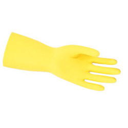 Memphis Glove 5290 Yellow Flock Lined Latex Gloves .018, Size 9 1/2""