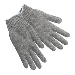 Memphis Glove String Knit Gloves, Gray Cotton/Polyester, Large