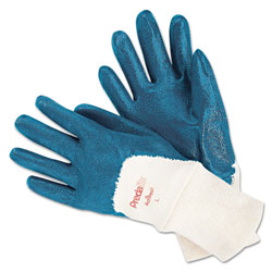 Memphis Glove Predalite Nitrile Gloves, Cotton Lined, Blue/White, Large, 12 Pairs