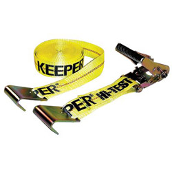 Keeper Ratchet Tie-Down Strap, 2in x 27ft, 10000lb Cap, Flat Hook Ends