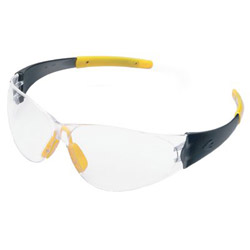 Crews Checkmate Safety Glassessmoke Temple Clear Lens