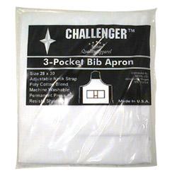 "Challenger 28"" x 30"" White 3 Pocket Adjustable Apron"