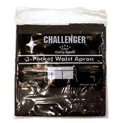 Challenger 3 Pocket Black Waist Apron
